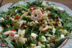 Salat mit Rucola Mozzarella und Garnelen